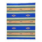 One-of-a-Kind Toohey Flat Weave Killim Reversible Hand-Knotted Cotton Blue/Beige Area Rug