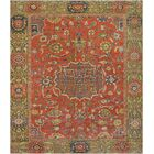 One-of-a-Kind Antique Sultanabad Handwoven Wool Tomato Red/Green Indoor Area Rug