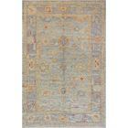 One-of-a-Kind Exquisite Oushak Handwoven Wool Blue Indoor Area Rug
