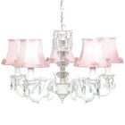 Turret 5-Light Shaded Chandelier Finish: White, Shade: Pearl Bust Pink