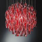 Avir 1-Light Crystal Ceiling Fixture Color/Size/Bulb Type: Red and Polished Steel/Large/250W E26