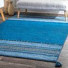 Alexandria Hand Loomed Cotton Blue Area Rug Rug Size: Rectangle 7'6