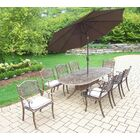 Mississippi 9 Piece Dining Set with Cushions Umbrella Color: Brown