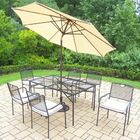 Charleston 7 Piece Dining Set with Cushions Umbrella Color: Beige