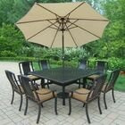 Vanguard 11 Piece Dining Set with Cushions Umbrella Color: Beige