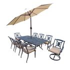 Vanguard 9 Piece Dining Set with Cushions Umbrella Color: Beige, Cushion Color: Sunbrella