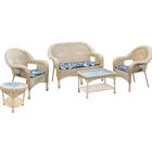 5 Piece Sofa Set with Cushions Color: Honey