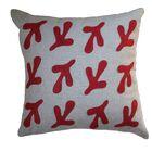 Applique Bird's Feet Linen Throw Pillow Color: Oatmeal Linen Fabric in Red