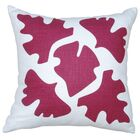 Hand Printed Shade Linen Throw Pillow Color: Red