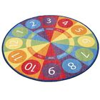 Tick-Tock Clock Activity Blue/Green Area Rug Size: Round 6'