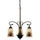 Victorian Lodge Tiffany Pine Barons 3-Light Shaded Chandelier
