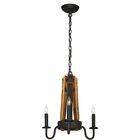 Barrel Stave Madera 3-Light Candle Style Chandelier