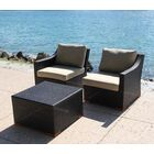 Marcelo 3 Piece Conversation Set with Cushions Fabric: Dura-Fast Meridian Metals