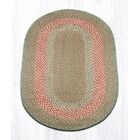 Green/Burgundy Braided Area Rug Rug Size: Oval 3' x 5'