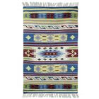 Fair Trade Multicolored Geometric  'Spring Fireworks' Expertly Hand Woven Indian Wool Home Decor Area Rug