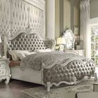 Welton Upholstered Panel Bed Color: Vintage Gray PU/Bone White, Size: Queen