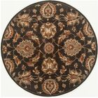 Serene Hand-Woven Wool Black Area Rug Rug Size: Round 4'
