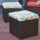 Mcmanis Rattan Ottoman with Floral Cushion Finish: Brown, Fabric: Orange
