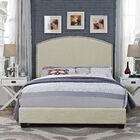 Beneduce Curved Upholstered Panel Bed Size: King, Upholstery: Shadow Gray Linen