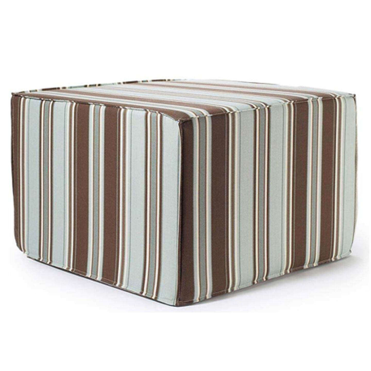 Thick Stripes Outdoor Ottoman in Spa