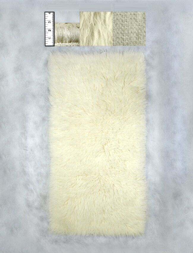 Hera Flokati Regular Natural White Solid Area Rug Rug Size: Rectangle 3'6