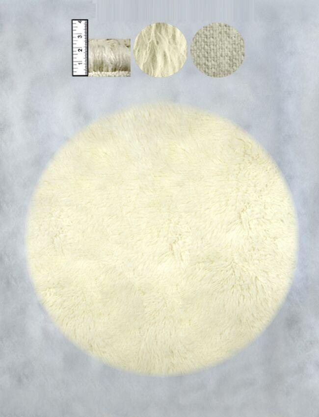 Hera Flokati Regular Natural White Solid Area Rug Rug Size: Round 5'
