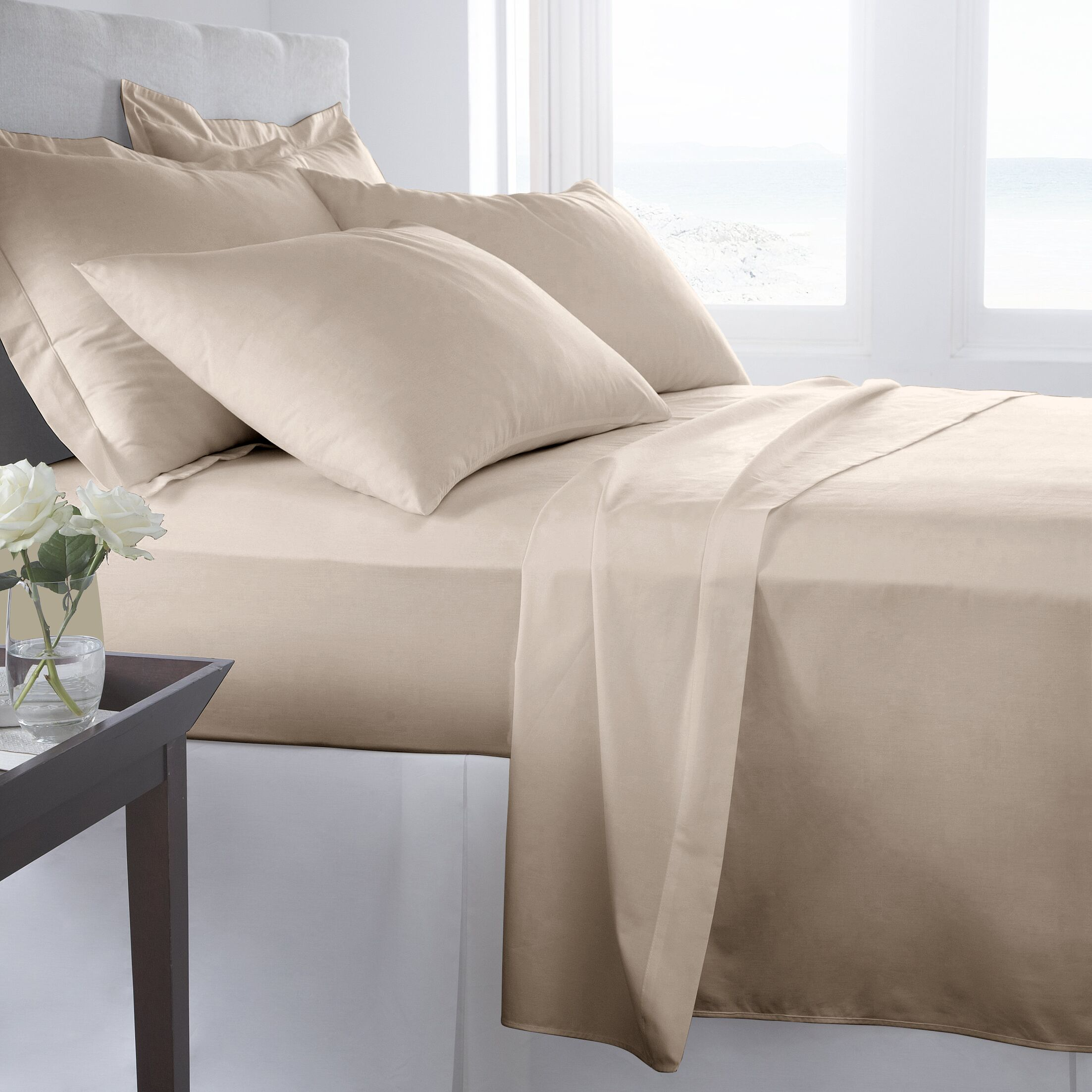 500 Thread Count 100% Cotton Solid Sheet Set Color: Atmosphere, Size: Double