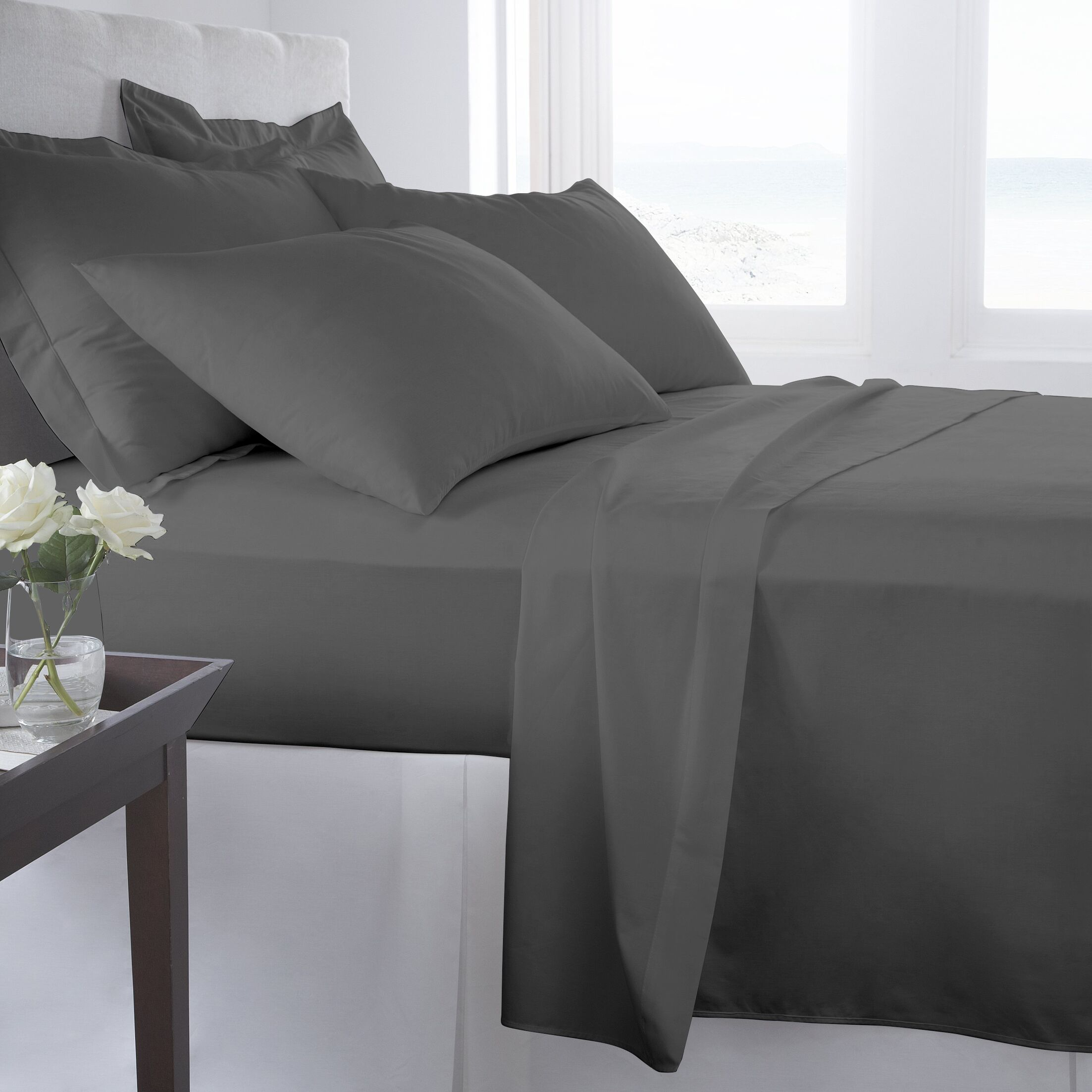 500 Thread Count 100% Cotton Solid Sheet Set Size: Queen, Color: Smoked Pearl