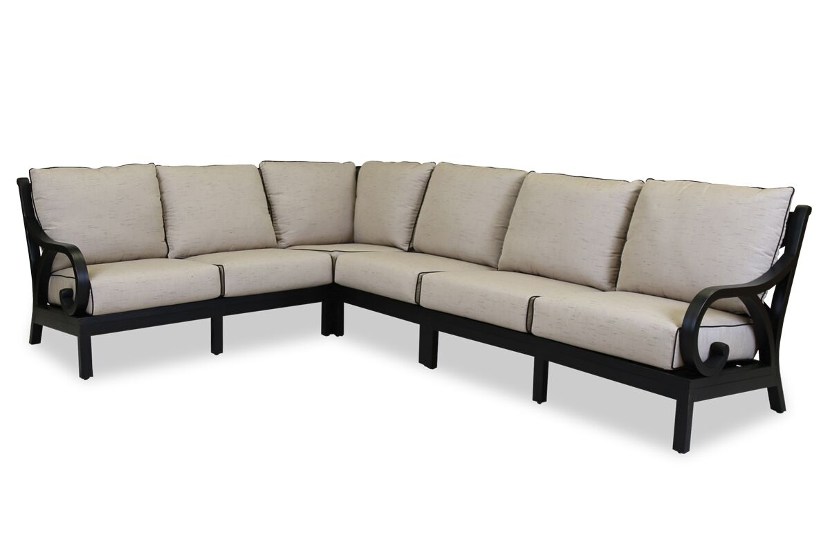 Monterey Sectional with Self Welt Cushions Fabric: Frequency Sand with Canvas Walnut Welt