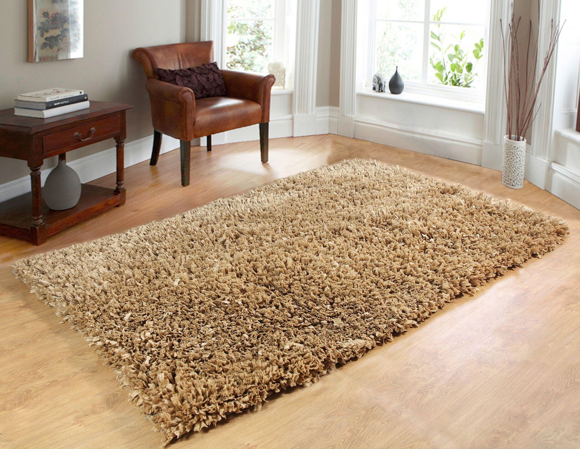 Comfy Hand-Woven Shag Taupe Area Rug Rug Size: 5' x 7'