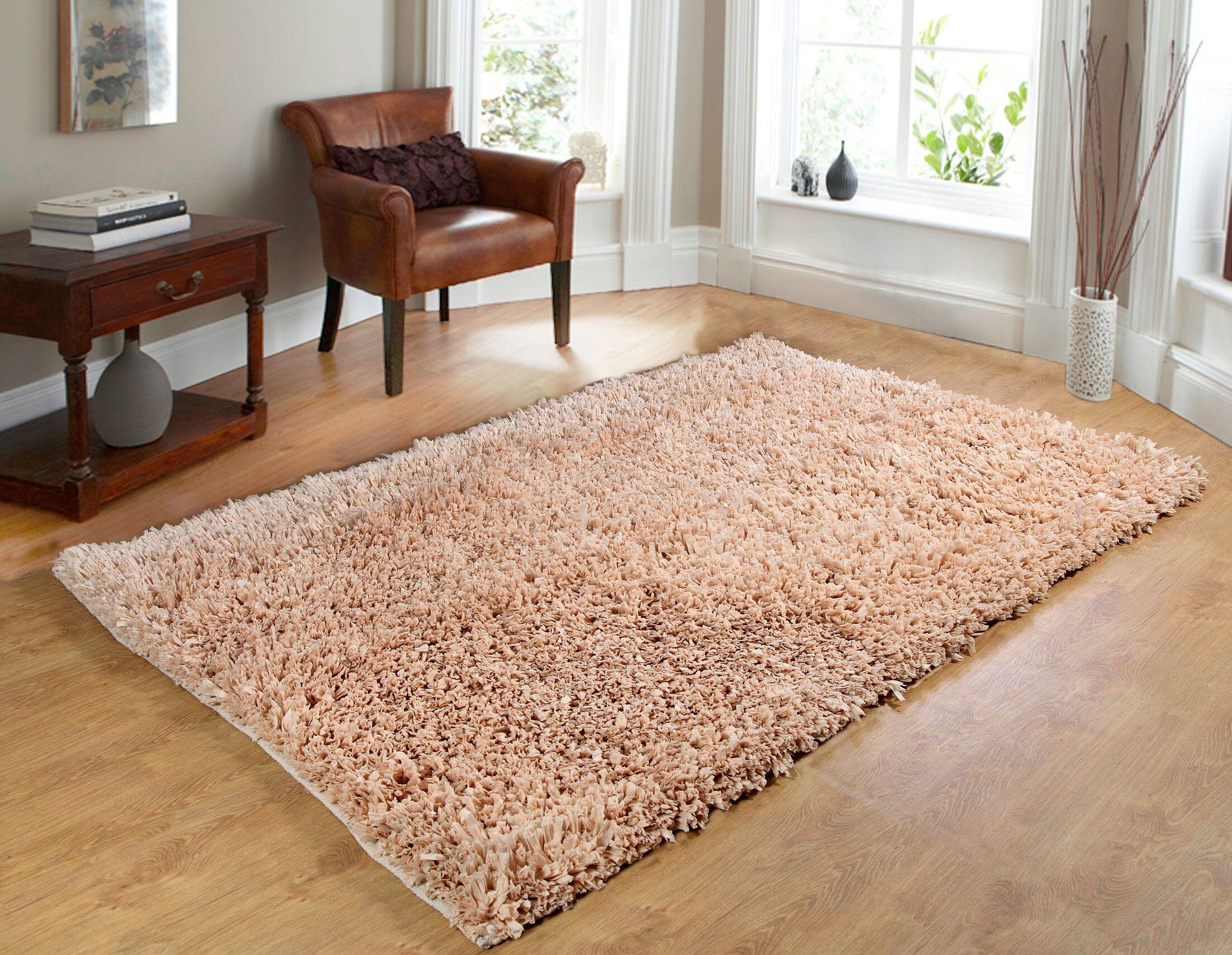 Comfy Hand-Woven Shag Linen Area Rug Rug Size: 5' x 7'
