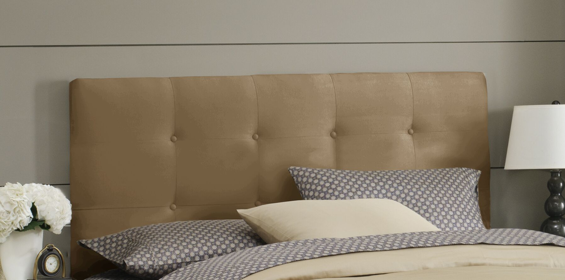 Double Button Tufted Upholstered Panel Headboard Size: California King, Color: Khaki