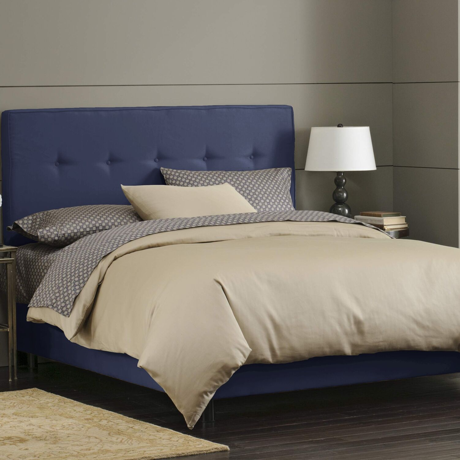 Button Tufted Upholstered Panel Bed Size: California King, Color: Lazuli
