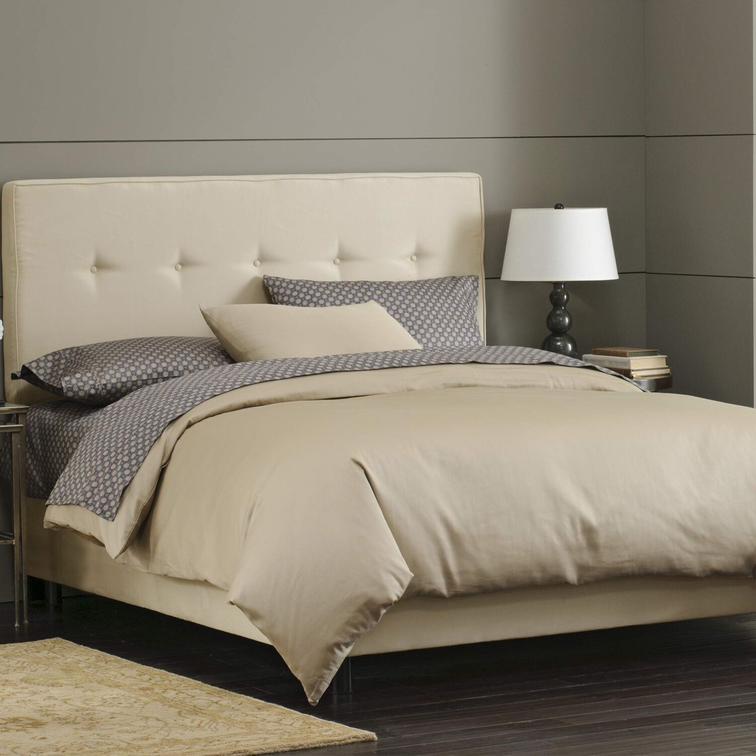 Button Tufted Upholstered Panel Bed Size: King, Color: Oatmeal