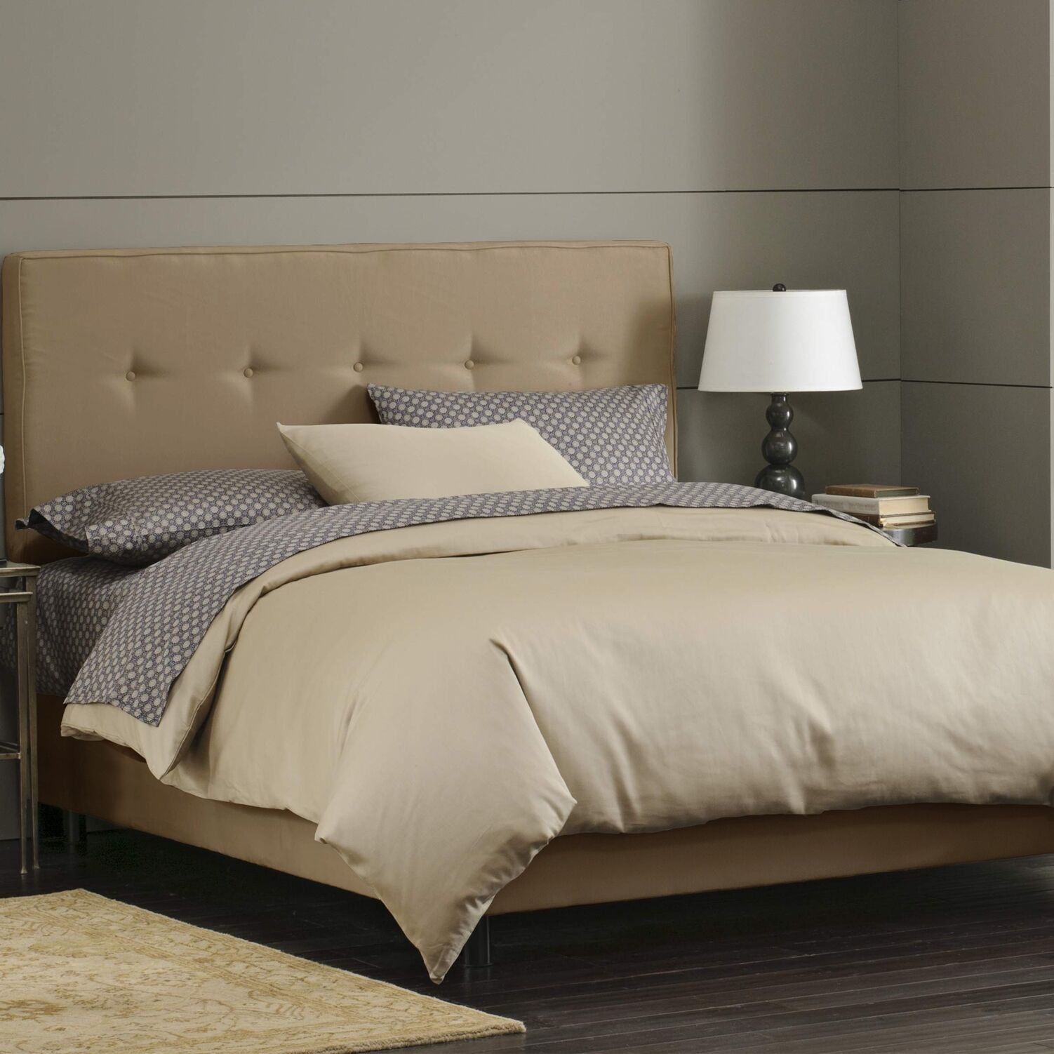 Button Tufted Upholstered Panel Bed Size: Twin, Color: Khaki