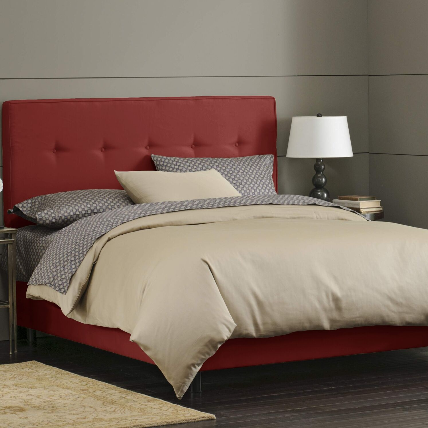 Button Tufted Upholstered Panel Bed Size: Twin, Color: Red