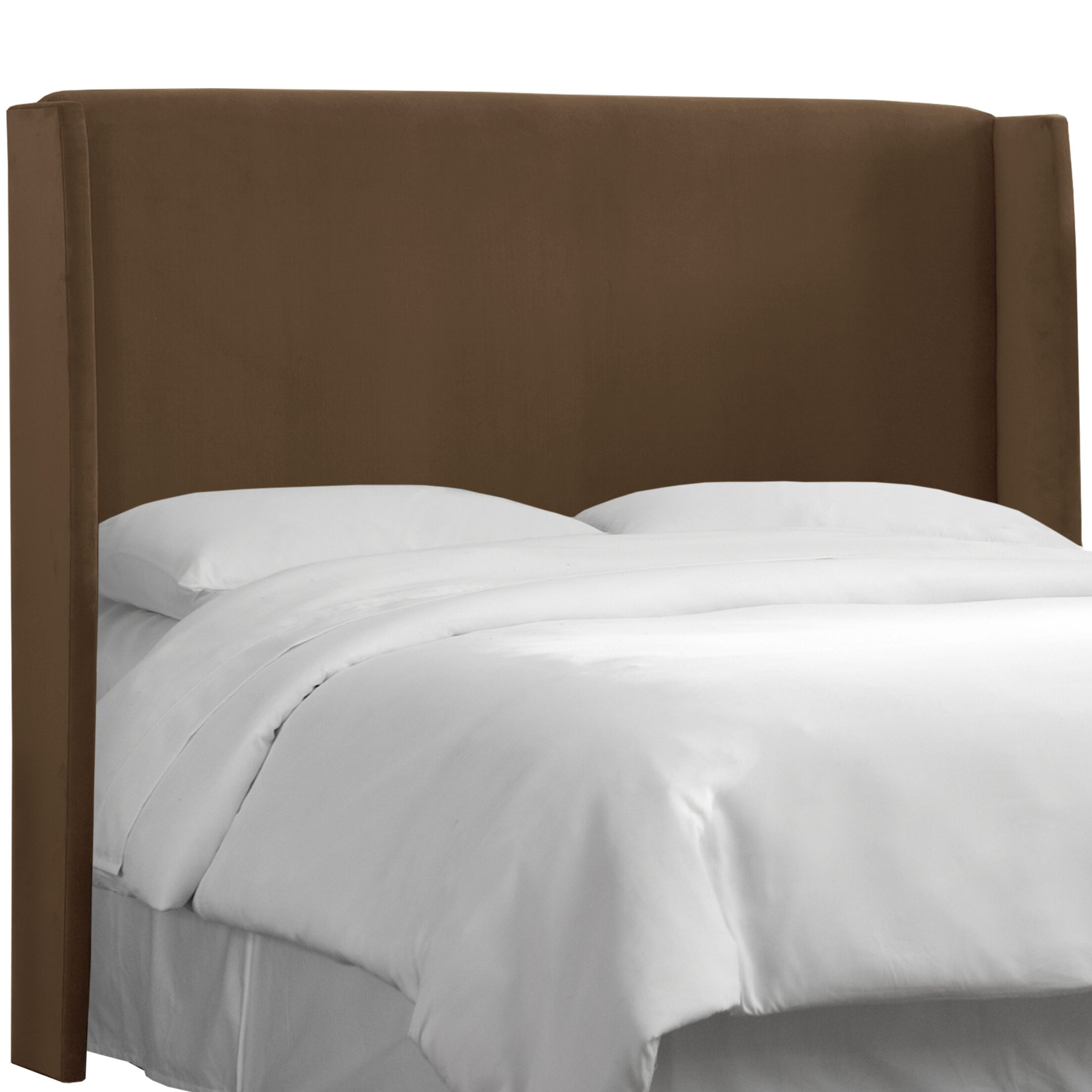Wingback Upholstered Headboard Size: Queen, Color: Chocolate