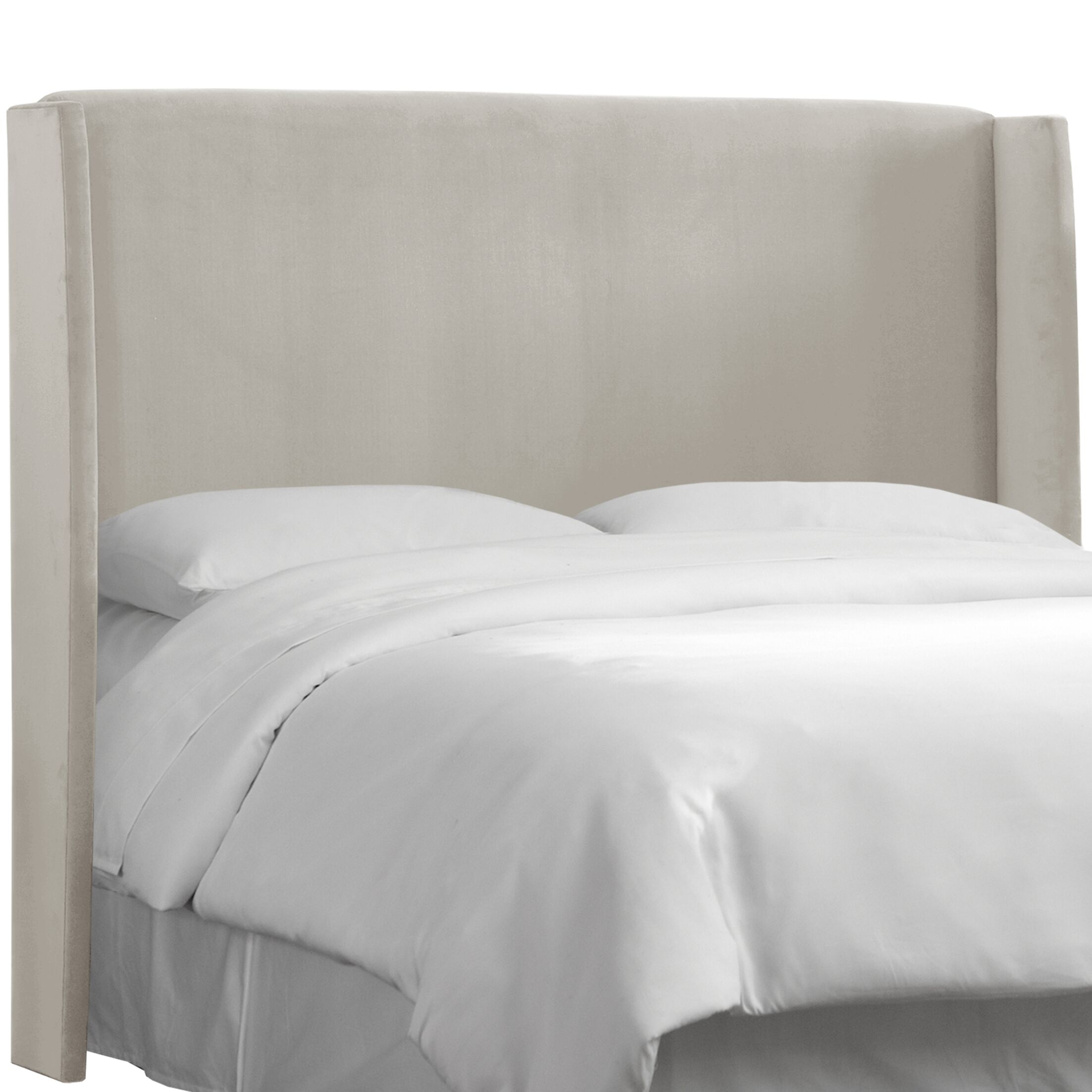 Wingback Upholstered Headboard Size: California King, Color: Light Grey