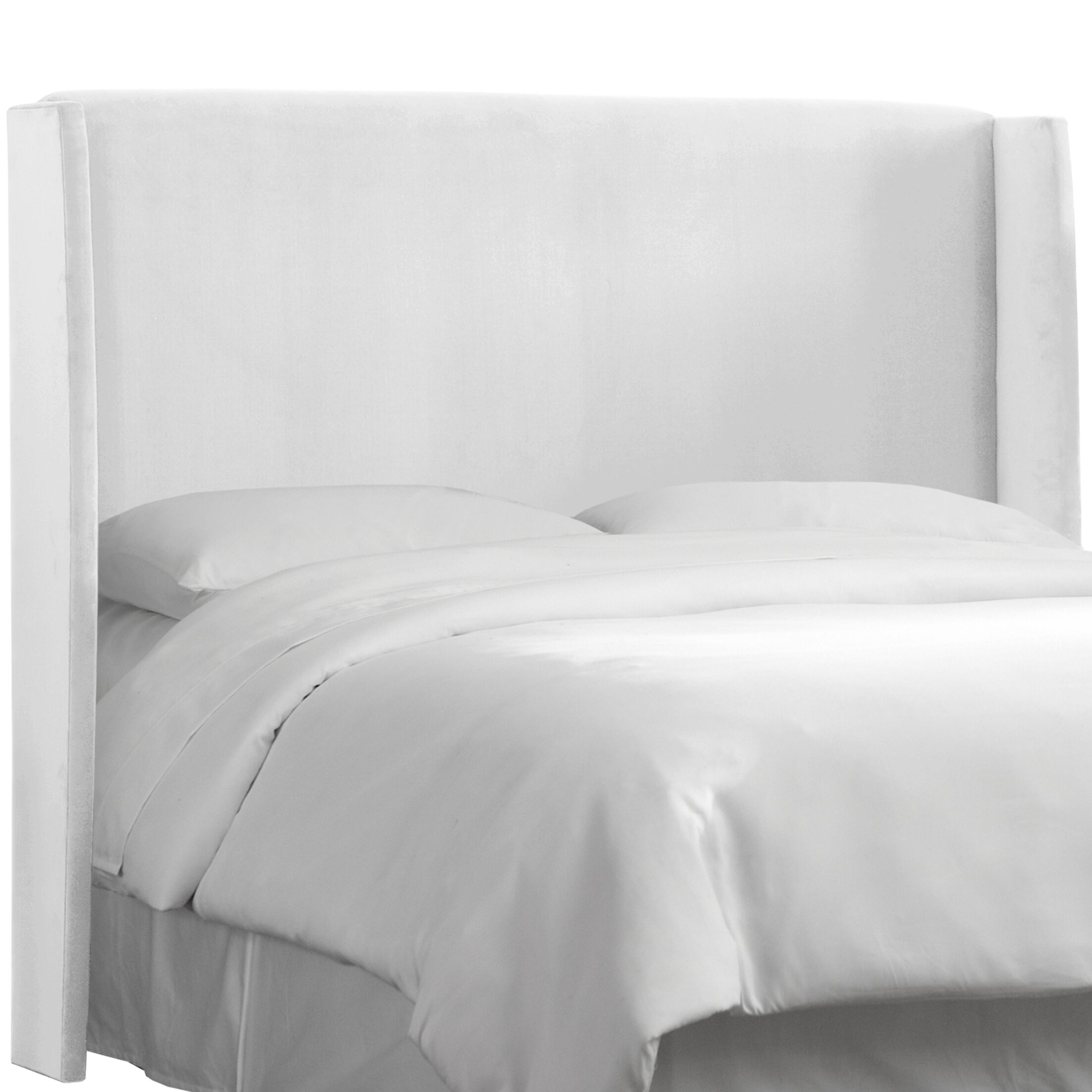 Wingback Upholstered Headboard Size: King, Color: White