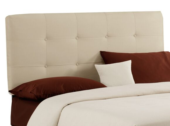 Double Button Tufted Upholstered Panel Headboard Size: King, Color: White