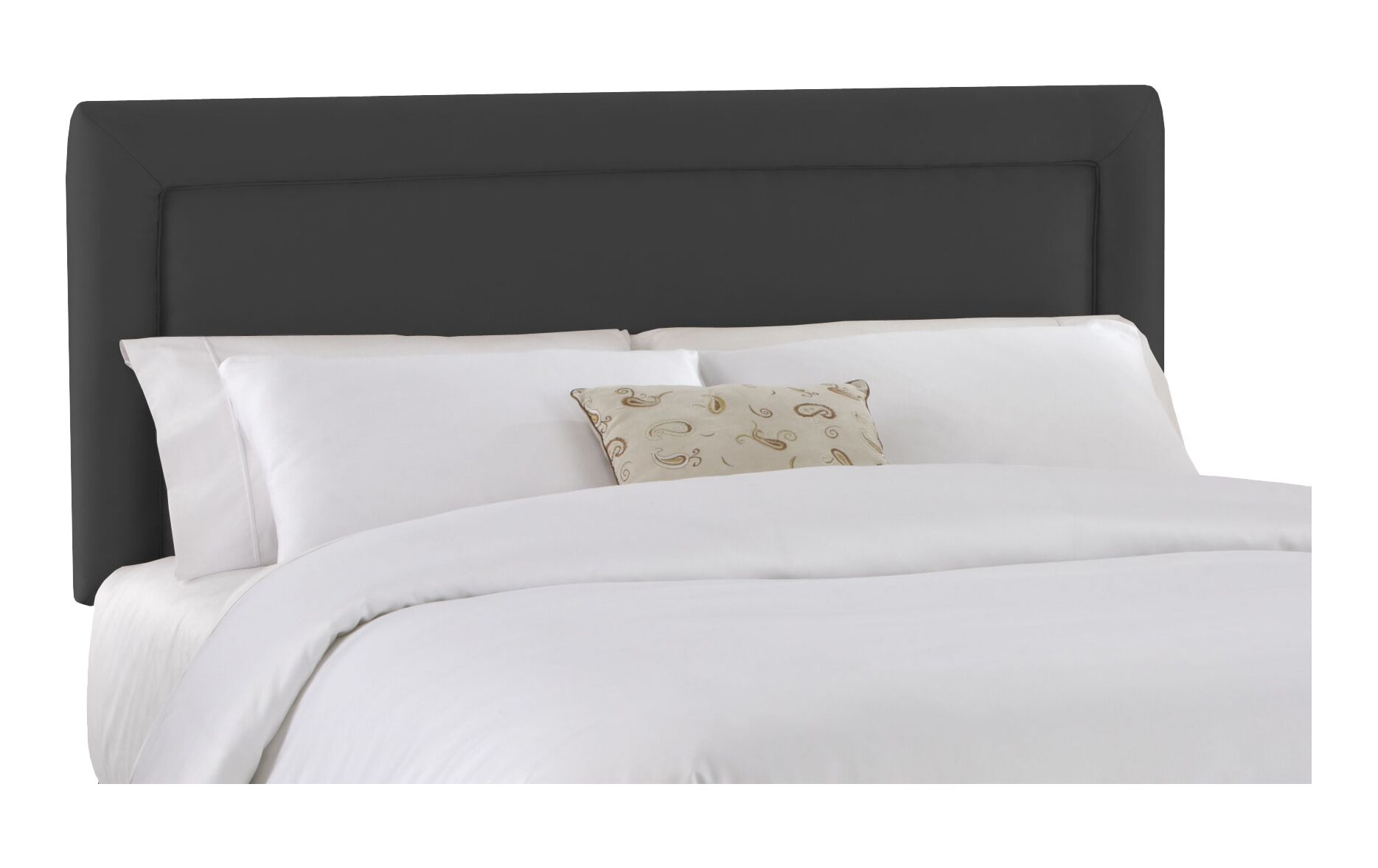 Border Upholstered Panel Headboard Size: Queen, Color: Black