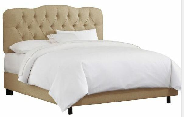 Jessa Tufted Linen Upholstered Panel Bed Size: Full, Color: Buckwheat