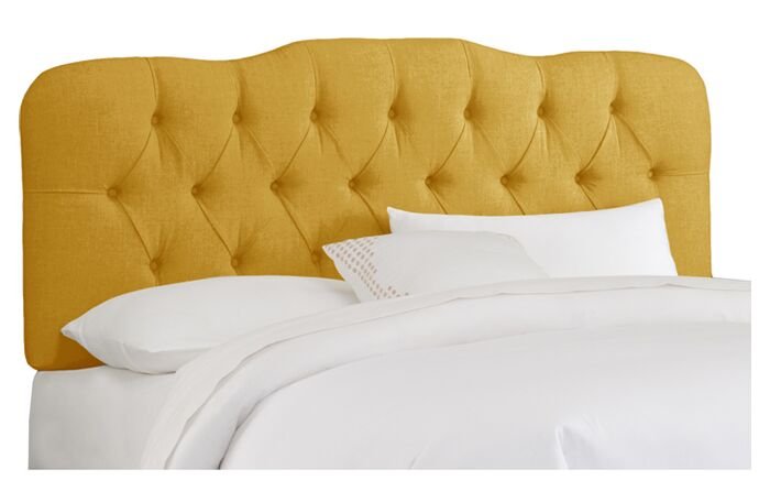 Carnaby Tufted Linen Upholstered Headboard Size: Full, Color: French Yellow
