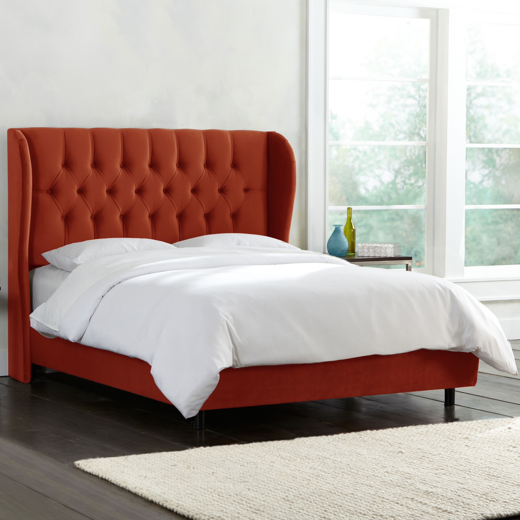 Dopson Tufted Wingback Linen Upholstered Panel Bed Size: King