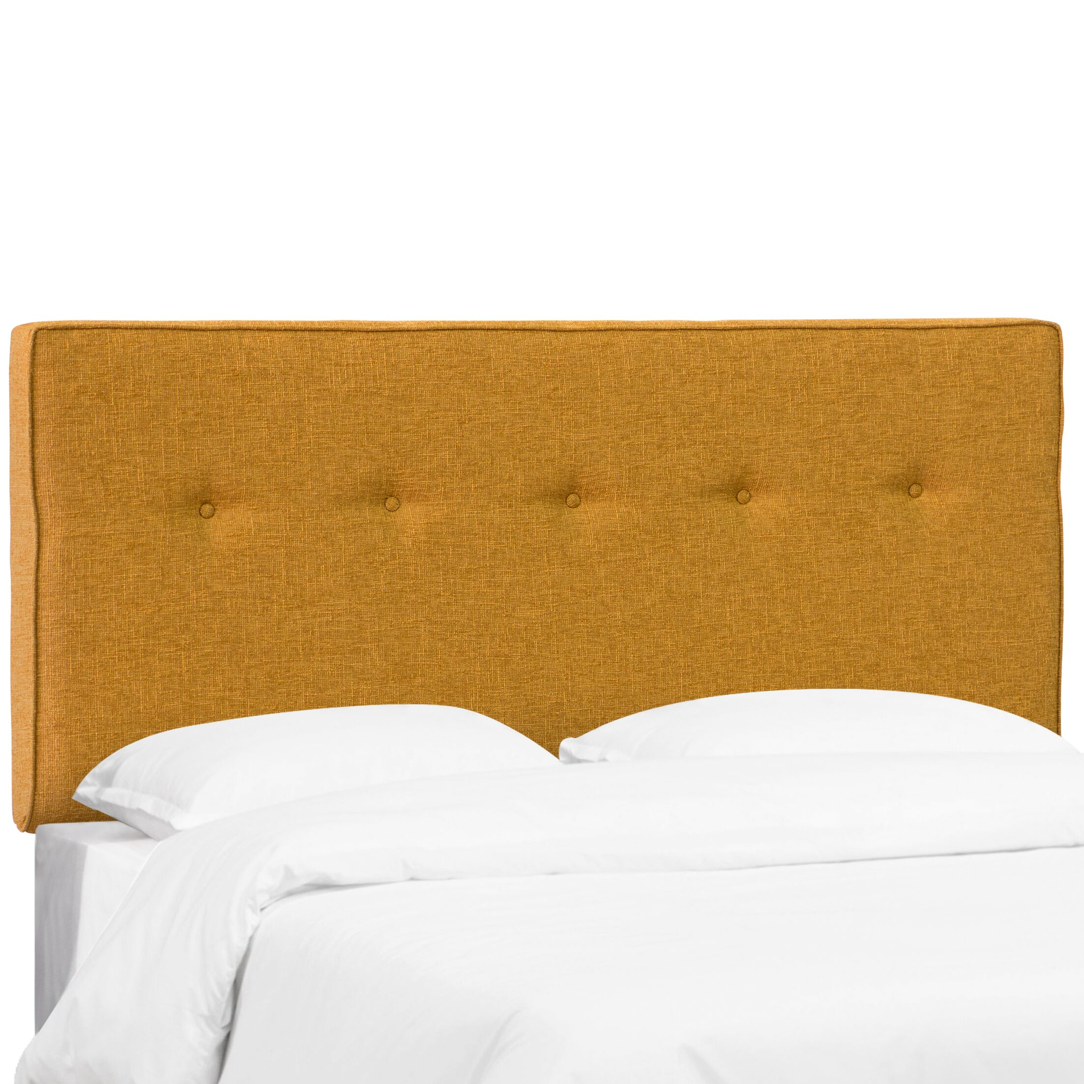 Paden Five Button Upholstered Panel Headboard Size: Twin, Color: Cordova Amber