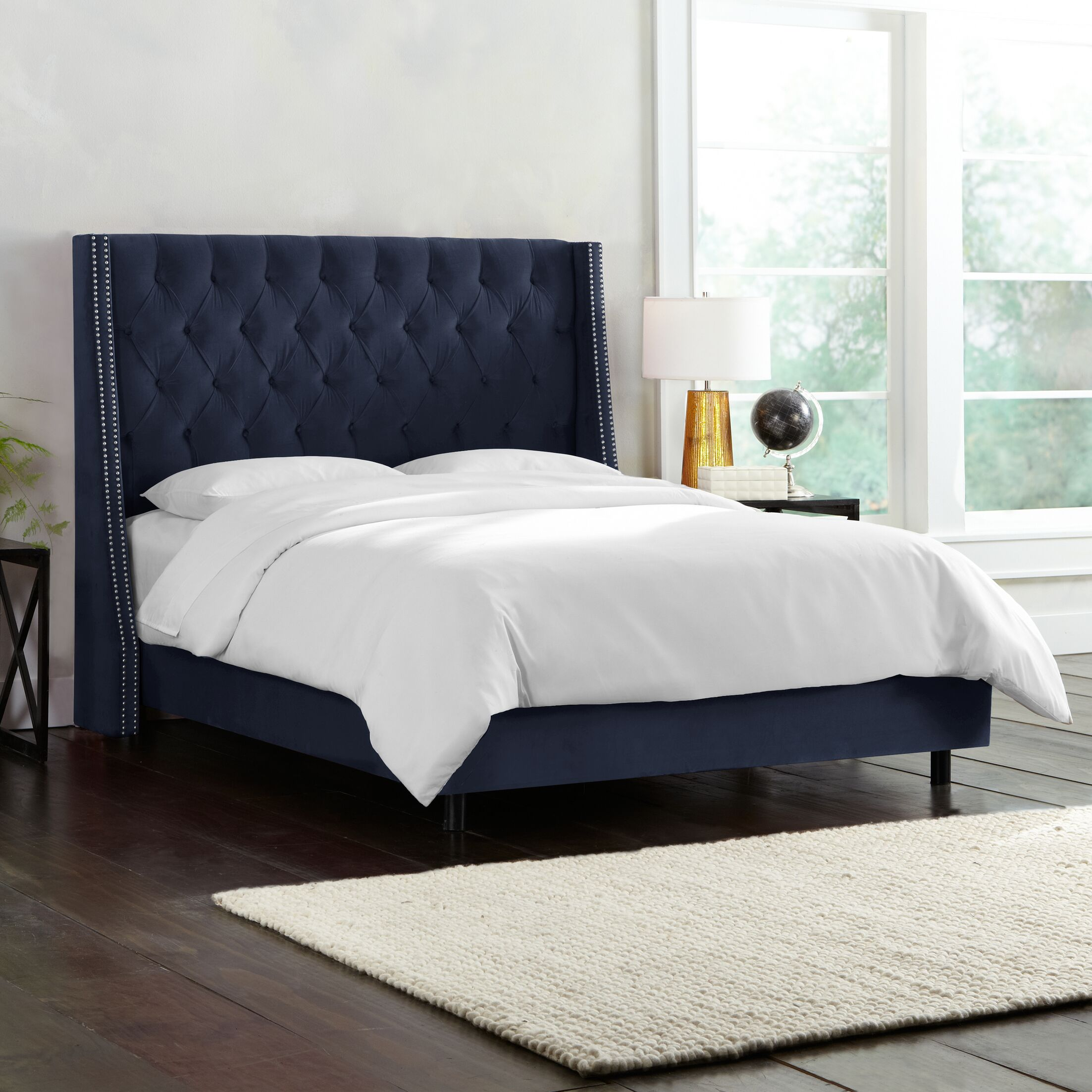 Costello Upholstered Panel Bed Size: Queen, Color: Regal Navy