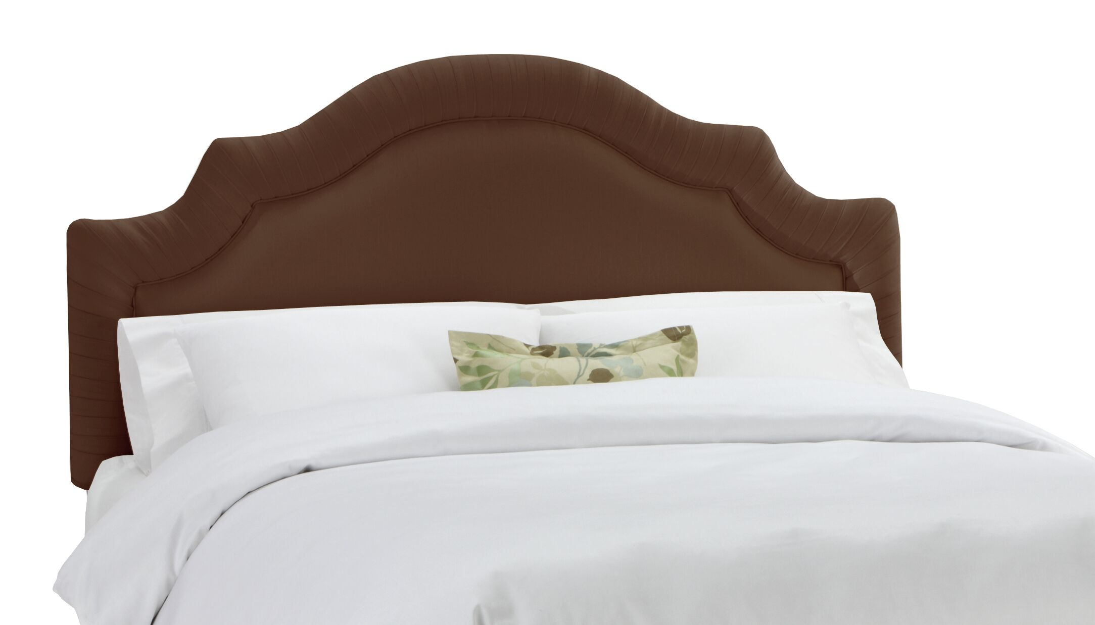 Arc Upholstered Panel Headboard Size: Twin, Color: Chocolate