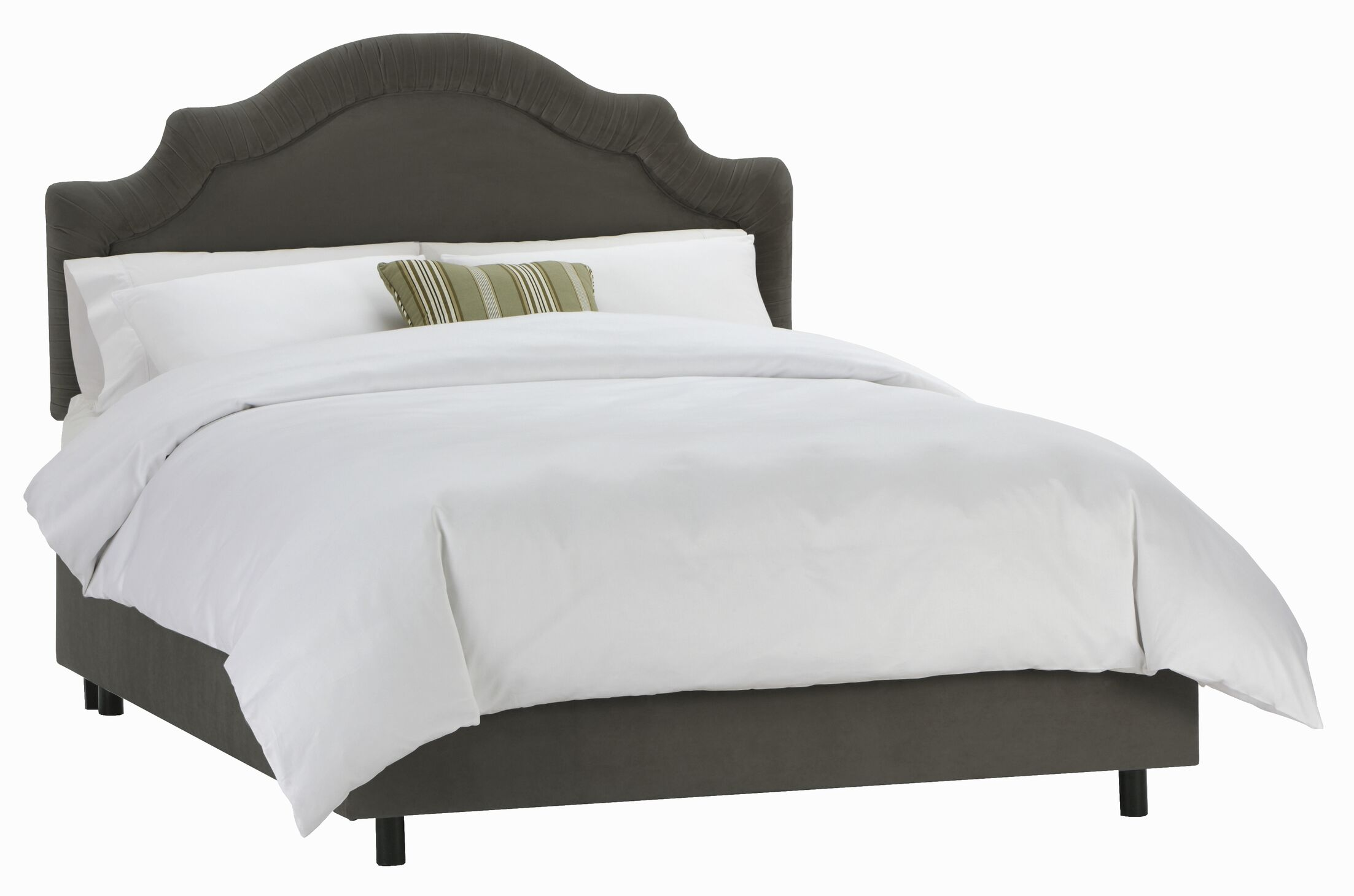 Tufted Arch Upholstered Panel Bed Size: Queen, Color: Velvet Pewter