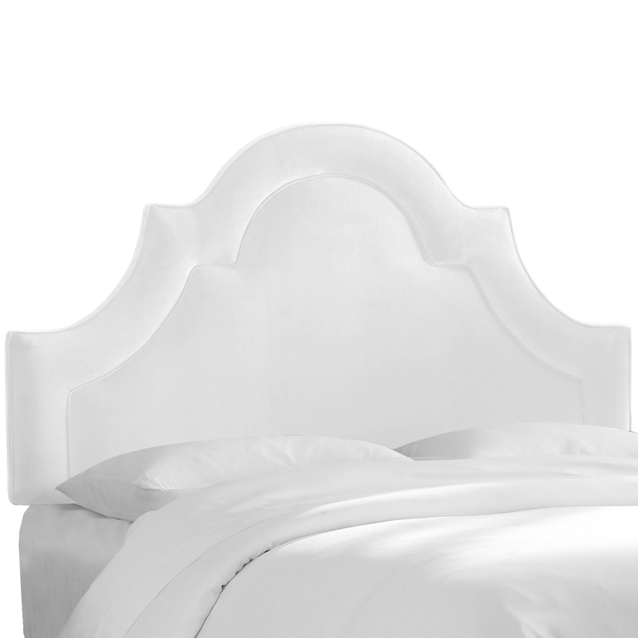 Kyler Arched Border California King Upholstered Panel Headboard Color: White, Size: KIng
