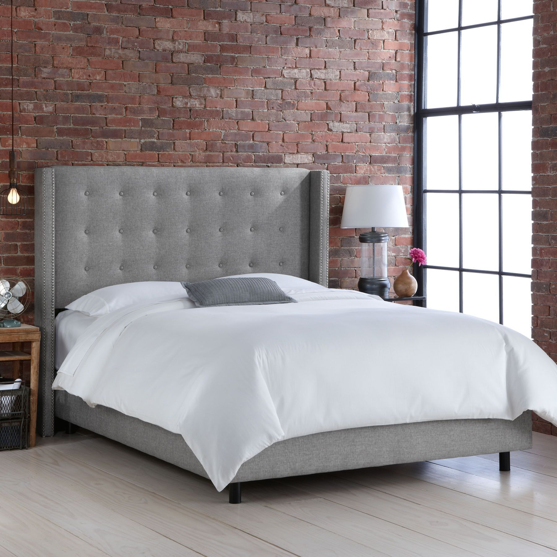 Wingback Upholstered Panel Bed Color: Groupie Pewter, Size: King